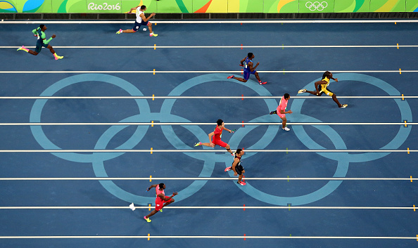 4 x 100m Relay Final on Day 14 of the Rio 2016 Olympic Games at the Olympic Stadium on August 19, 2016 in Rio de Janeiro, Brazil.  (Photo by Cameron Spencer/Getty Images)